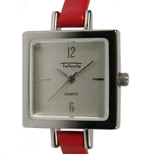 Talbots Women's Silver-Tone Ultra-Slim Red Leather Strap Watch NEW & UNWORN