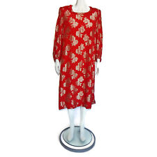 Razooks Vintage 80s Dynasty Red Gold Metallic Shoulder Pad Gown Dress Nwt 7482