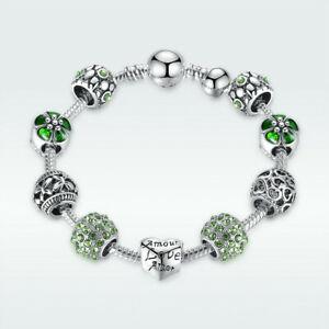 European Handmade Bracelet  925 Sterling Silver Green Beads Love Heart Charms
