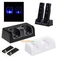 NEW Dual Charger Station 2x 2800mAh Rechargeable Battery for Wii Remote Control