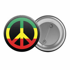 "Reggae Peace - Badge Button Pin 1.25"" 32mm  Rastafarian Sign Symbol Rasta (#1)"