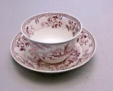 Staffordshire Mulberry Handleless Tea Cup & Deep Bowl Saucer, Japonica, Ridgway