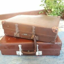 """2 x Vintage REVELATIONS Brown Classic Decorative Luggage Suitcases UK MADE """"L3"""