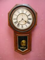 ANTIQUE MAHOGANY CASED DROP DIAL KITCHEN CHIMING WALL CLOCK PROJECT
