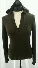 TALBOTS Women S Brown 100% Cotton Chunky Knit Long Sleeve Sweater With Hood