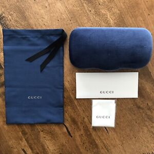 GUCCI Blue Velvet Large Sunglass  Case + Pouch + Cleaning Cloth~NEW