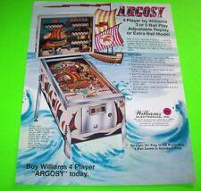 ARGOSY Williams 1977 ORIGINAL NOS PINBALL MACHINE Flyer Ships Nautical Theme