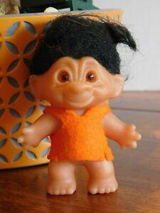 "DAM Orange Tunic TROLL DOLL 3.5"" DAM BLACK HAIR  Marked on Feet DENMARK (C)"