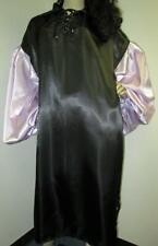 "Plus Size Satin! ""Special� High Shine Black & Lilac Satin Balloon Shirt Gown"