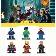 6 Set Super hero Mini Figure Captain America DC Marvel Building Blocks Fit Lego