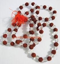 Prayer beads Rudraksha n sphatik mala  6 mm japa yoga Shiva tantra hindu