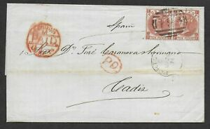 G.B. used abroad, 1874 cover from Porto Rico with 10d red-brown issues to Spain.