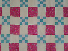 Unfinished Quilt Top-Pink Barbie Blocks,  Turquoise Nine Patch, approx 48.2 x 72