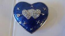 Twin Heart Cupid's Arrow Trinket Box Enamel Jeweled Collectible