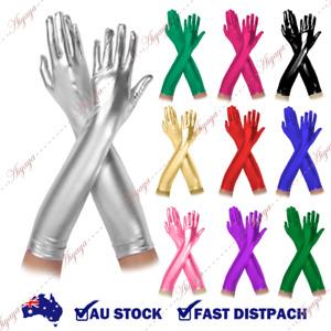 Fashion Women Metallic Long Gloves wedding Clubwear Cosplay Fancy Costume