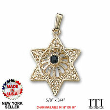 Solid 14k Yellow Gold Star of David Pendant
