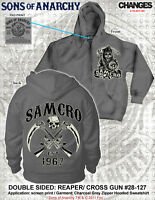 RARE SONS OF ANARCHY SOA SAMCRO CROSSED GUNS CHARCOAL SICKLE REAPER HOODIE S-3XL