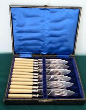 Antique English Silver Plate Fish Serving Set of 6 Forks & Knives Ivorine Handle