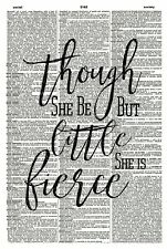Shakespeare Quote Vintage Dictionary Art Print - 1054D- She Is Fierce Quote