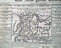BATTLE OF SHILOH Memphis Tennessee TN Civil War Miss. Valley MAP 1862 Newspaper