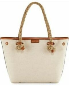 New MICHAEL KORS MARITIME Natural Khaki LARGE BEACH TOTE BAG 2 styles tote rope