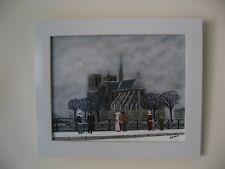 """Gabriel Donnet - """"Notre Dame de Paris sous la neige """" - Tableau - Art naïf -"""