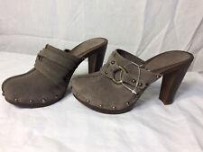 Nothing Else Mule Shoes Clog Wood Heel Platform Grey Suede US 7.5 EU 38 Womens