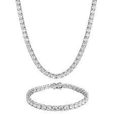 "Solitaire Tennis Necklace Bracelet Combo Set Simulated Diamond 24"" Chain 6mm"