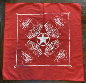 Fort Worth Texas Cowtown DFW Western Bandana Cloth Mask Handkerchief Art Fabric