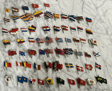 225 vintage Cruver celluloid Nations flags on stick pins 65 Countries Brass