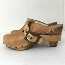 Sanita Wood Sandal Heel Clog Women Size 38 US 8-8..5
