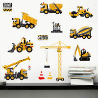 Truck Digger Construction Vehicles Wall Sticker Kids Decal Nursery Bedroom Decor
