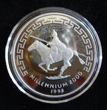 1998 plata prueba de moneda de Mongolia 500 Tugrik Holograma + certificado De Autenticidad Milenio Mon Rider