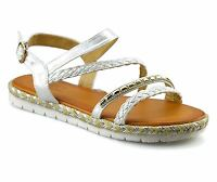 Ladies Womens Low Wedge Heel Ankle Strap Espadrilles Summer Sandals Shoes Size