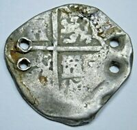 1600's Spanish Silver 2 Reales Cob Antique Two Bit Colonial Pirate Treasure Coin