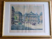 1930's Original coloured etching of Place de l'Opera, Paris by Marcel Baron