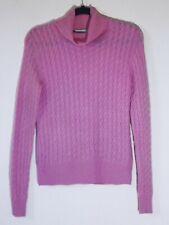 Geneva 100% cashmere pink cableknit turtleneck sweater size M