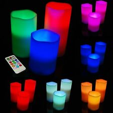 Set of 3 Vanilla Scented Wax Mood LED Flameless Candles With Remote Control