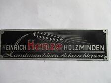 Typenschild Hanomag Traktor Schild Händlerschild Heinrich Henze Holzminden s45