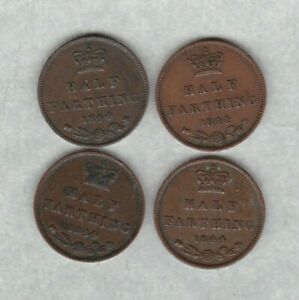FOUR 1844 VICTORIAN HALF FARTHINGS IN VERY FINE OR BETTER CONDITION