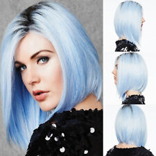 us Gradient Bob Wigs Short Straight Hair Ombre Blue Full Wig Synthetic Wig