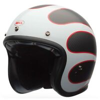 Bell Custom 500 CARBON Motorcycle Helmet | Ace Cafe Ton Up | FREE PEAK + VISOR !