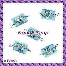 6 Perles de verre rectangle avec fil métal
