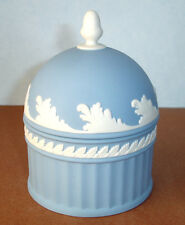 """Wedgwood Jasper Blue Acorn Box Domed Lid White Bas-Relief 5"""" Made in England New"""