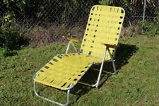 Vintage Folding Aluminum Webbed Chaise Lounge Lawn Chair Yellow Wood Arms