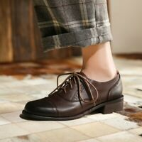 Women Round Toe Retro Lace up Flat Carved Brogue Oxfords Shoes Pumps Leather