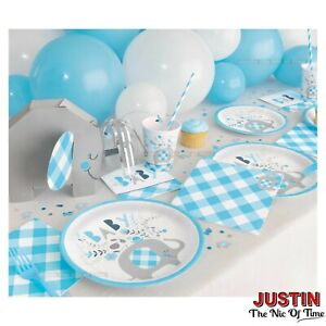 Baby Shower Boy Elephants Tableware Blue Floral Party Supplies Boys