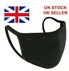 COTTON FACE MASK BLACK QUALITY  MOUNTH COVER REUSABLE HANDMADE UK STOCK UNISEX