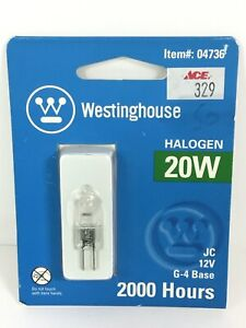 Westinghouse 20W T3 JC Halogen Clear G4 Base, 12 Volt, Bulb ~FAST~FREE~SHIPPING~