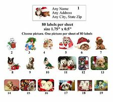 80 small Return Address Labels Christmas Dogs Buy 3 get 1 free (ch4)